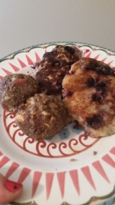 A perfect breakfast marriage. Paleo Breakfast Meatballs and Paleo Pancakes