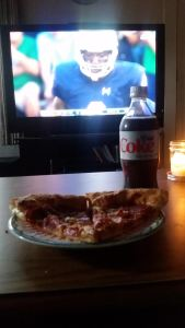 The pizza and Diet Coke I enjoyed during Saturday's Notre Dame season opener.